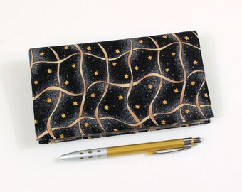 Duplicate Checkbook Cover with Pen Holder, Gold Ribbon and Stars on Black Cotton Fabric, Check Book Cover, Cheque Book Cover