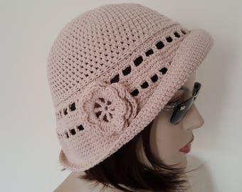 Cotton Cloche Hat, Spring Hat, Summer Hat, Garden Hat, Women Adult Hat,Beige Hat,