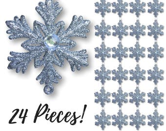 "Silver Snowflake Ornaments – 24 Pcs - 2 1/2""   Jeweled Snowflakes - Christmas Decorations – Glittered Snowflakes – Winter Decoration  #3585"