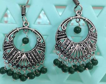 Indian Bollywood Party Wear Oxidized Black metal Earrings Jhumki Jhumka