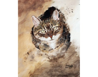 CUSTOM pet portrait acrylic on canvas - custom cat portrait - ONE pet - N-Bb