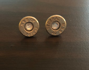 40mm Nickel Plated Brass Federal up-cycled bullet earrings