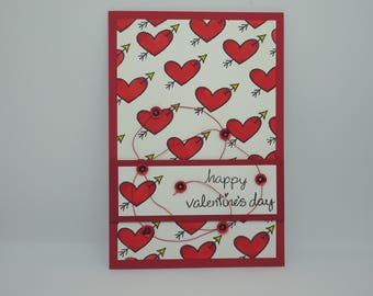 Happy Valentine's Day, Kitsch Handmade Romantic Card, Cute Valentine Card, Valentine's Day Card, Lawn Fawn, Red Hearts with Arrows
