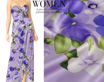 Floral Print Purple Silk Stretch Satin Fashion Fabric Width 46 inch