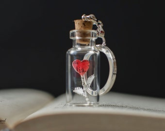 Love in a bottle - Key Chain with tiny heart in vial -
