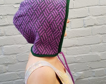 Knitted Festival/Rave Hood in Purple and Green geometric pattern - sustainable, eco, warm, colourful, winter, gift for teen, her, edm