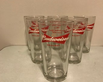 Lot 6 Budweiser Draught pint glasses