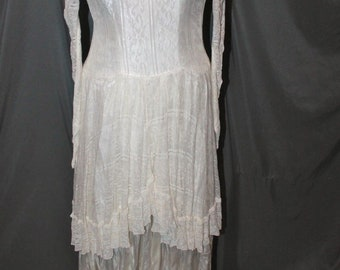 Vintage 1960's Victorian Style Lace Satin Wedding Dress & Train Theatrical Re-enactor Cosplay