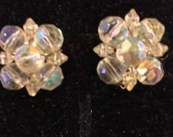 Vintage Crystal AB Clip Earrings