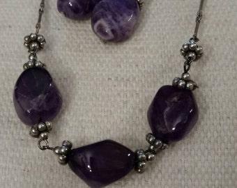 Amethyst Stone Necklace, Dangle Earrings, Beaded Set, Vintage, Birthday, Boho, Art Deco, Silver