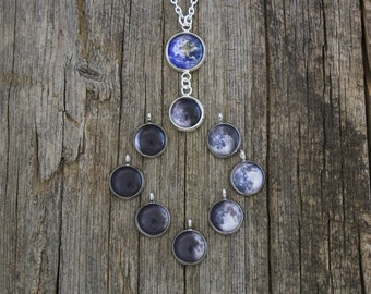 Earth and Your Birth Moon, Personal Birth Moon Phase, Personalized Moon Necklace, Custom Birth Moon Necklace, Custom Moon Phase, Birthmoon