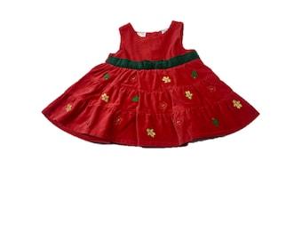 Christmas Dress Baby / Vintage Red Velvet Christmas Dress 6/9 Months