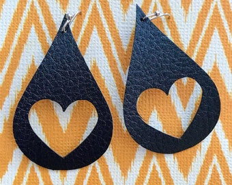 Open Heart Leather Earrings