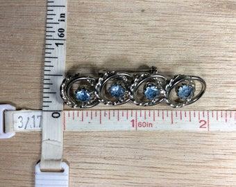 Vintage Silver Toned Blue Rhinestone Pin Brooch Used