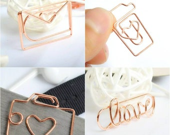 8pcs Rose Gold Paper Clips, Paperclips, Planner Clips, Bookmark, Binder Clip, Love Envelope Camera Coffee, School Office Stationery Supplies