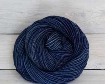 Calypso - Hand Dyed Superwash Merino Wool DK Light Worsted Yarn - Colorway: Denim