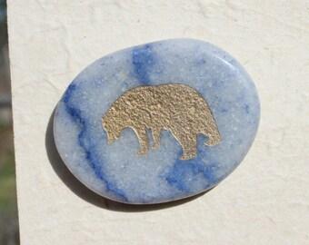 Button Gold Bear on Lapis