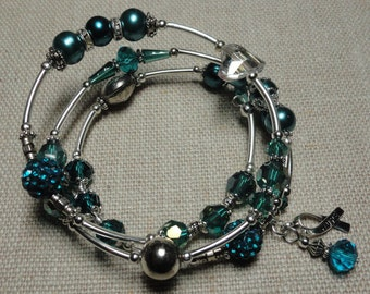 045 Ovarian Cancer Awareness  Wrap Bracelet