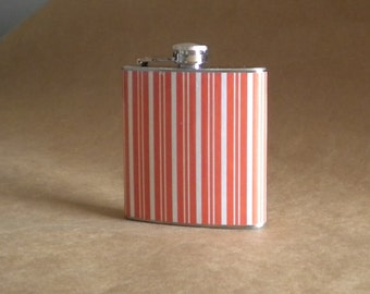 Orange and White Stripe Print 6 ounce Stainless Steel Girl Gift Flask