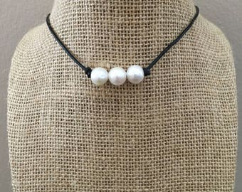 Leather And Pearl Freshwater Pearl Necklace Triple Freshwater Pearls Style Brown Leather Necklace