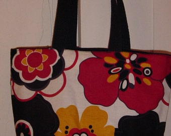Bold Cleo Floral Flowers Purse Tote BAG or Diaperbag Please choose black, wine or blue