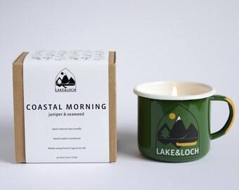 Coastal Morning Camping Mug Natural Wax Candle