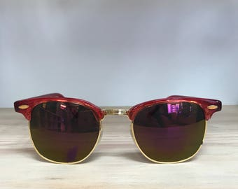 Red purple pink or black clubmaster vintage sunglasses
