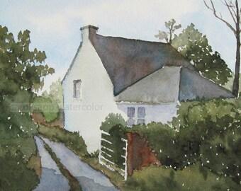 Irish cottage watercolor-irish cottage painting-irish landscape-ireland painting-ireland watercolor-county clare ireland-country lane