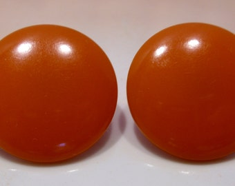 Pumpkin Orange Bakelite Button Clip Earrings Great Mother's Day Gift