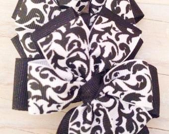Black and White Damask Hair Bow Set - pinwheel hair bows