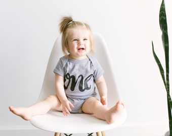 First Birthday Outfit •ONE Hand-lettered Cotton Baby Bodysuit • Modern One Year Old First Birthday Infant Bodysuit • FREE SHIPPING