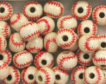 Hand Painted Ceramic Red Stitched Baseball Beads, Choice Size-Qty.