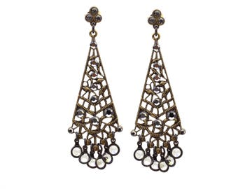 Chandelier Earrings with Black Diamond Swarovski Crystals in Antique Gold