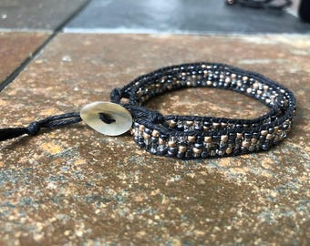 Black and silver double wrap bracelet, Beaded Wrap Bracelet, Beaded Bracelet, Hemp Wrap Bracelet, Hemp Bracelet, Bracelet