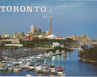 Vintage 1980s Postcard Toronto Ontario Canada City Skyline Harbour CN Tower Skydome Scenic View Card Photochrome Postally Unused