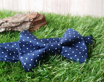 Bow tie Blue Navy polka dots