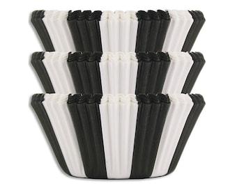 Black Circus Stripe Baking Cups - balck stiped cupcake liners, cupcake papers