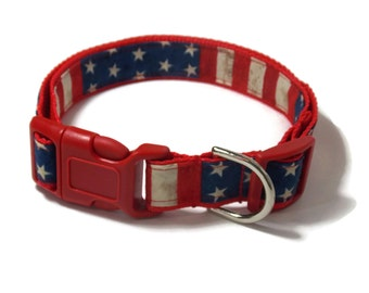 American Flag Collar - Personalized 4th of July Dog Collar
