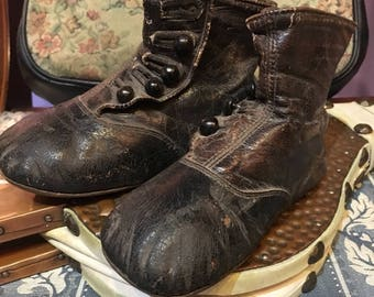 Victorian leather infant boots