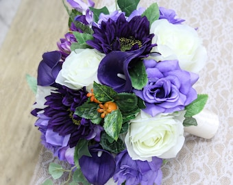 """10"""" Natural Looking Bouquet - Shades of Purple,Regency Purple,Lavender, Ivory, Sunflower and Rose Bouquet"""