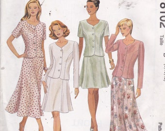 McCalls 8102 Vintage Pattern Womens Semi Fitted Jacket and Flared Skirt in Variations Size 8,10,12 UNCUT