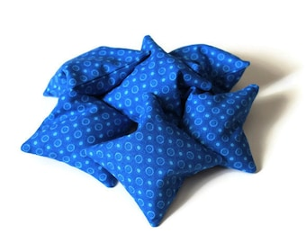 Bright Blue Bean Bags (set of 6) Boys Toy 3 Inch Squares Rice-filled Bean Bags Homeschool - US Shipping Included