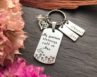Personalised Mothers Day Gift - Grandmother Gift - Hand Stamped Keyring - Gifts for Grandma - Gift for Mum - Gift for her - Mothers Day Gift