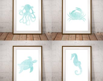 Under The Sea, Set Of 4 Art Prints, Octopus, Crab, Sea Turtle, Seahorse Home Decor, Marine Life Prints, Bathroom Decor, Blue Watercolour