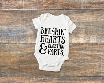Breakin Hearts and Blastin Farts~ Baby Onesie ~ Christmas & Baby shower