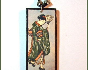 "Japanese Geisha Necklace Pendant Polymer Clay 20"" long Handcrafted Black Grey Green Image Transfer Japanese Art Geisha Pendant"