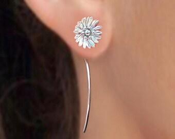 Shasta daisy flower earrings sterling silver earrings jewelry dangle earrings cute small stud earrings long stem earrings Threader E-171