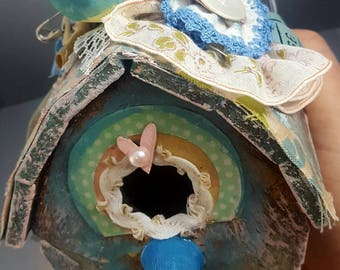 shabby chic altered birdhouse with vintage sewing notions spring cottage decor pastel bird