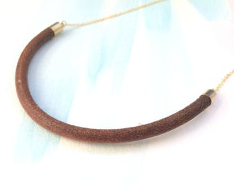 Half Circle Necklace - Leather Necklace - Half Circle Leather Necklace - -Half Moon Necklace - Natural Leather Necklace - Crescent Necklace