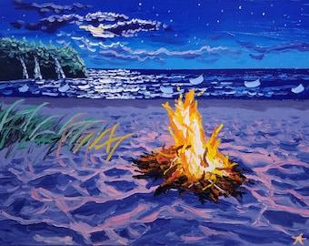Beach decor / large wall art / oil painting / moon art / modern art / beach / seascape painting / surf art / original artwork / seascape